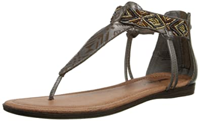 Minnetonka Women's Antigua Dress Sandal, Pewter Leather, ...