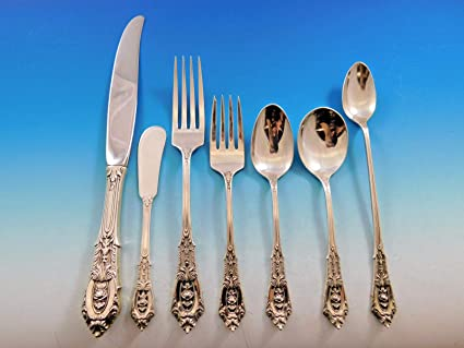"""Wallace Sterling Silver Rose Point 6 3//8/"""" Salad Fork No Monograms"""