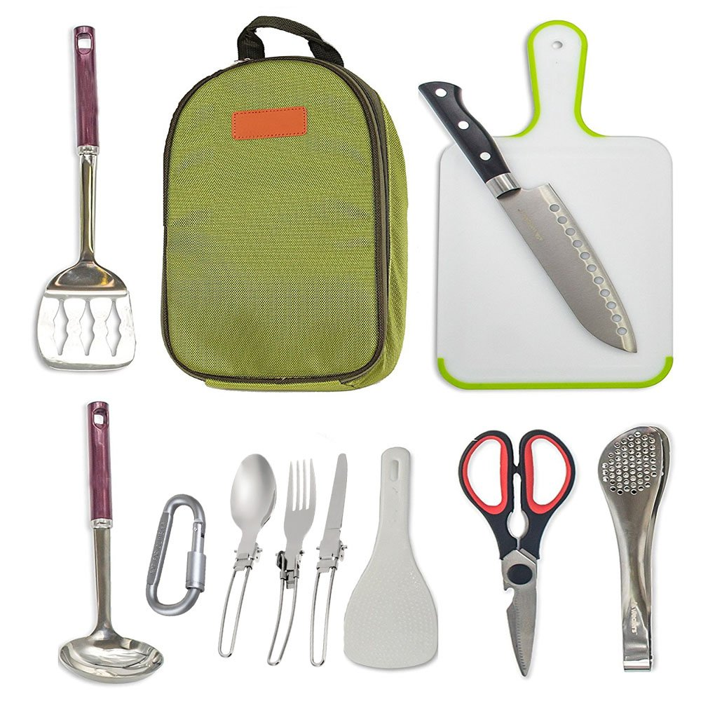 Delicacy 10 Pcs Camping Kitchen Utensil Set Camp Cookware Utensils