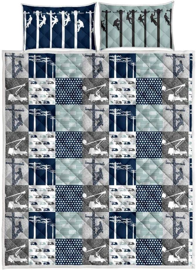 Lineman Quilt Sets Xmas King Queen Twin Throw Size Quilt Christmas Birthday for Kids Son Daughter from Mom Mommy Mother Dad Daddy Father Grandma Aunt