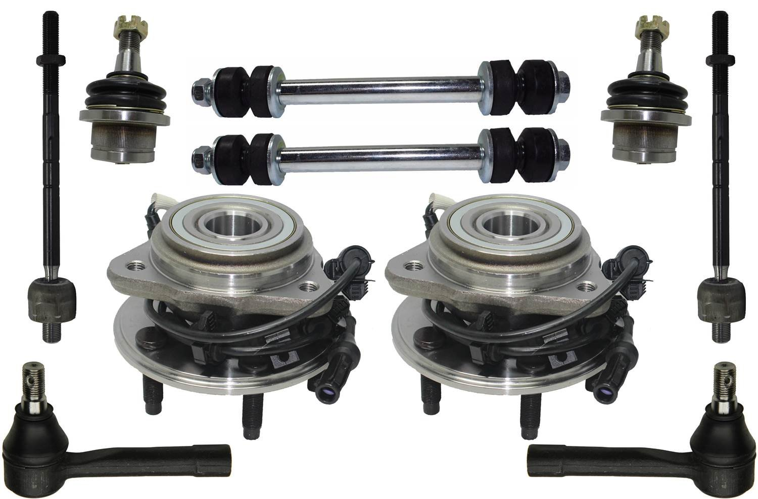PartsW 10 Pcs Kit Front Wheel Bearing and Hub Assembly Inner Outer Tie Rod Ends Lower Ball Joints Sway Bar End Link by Parts Warehouse (Image #1)