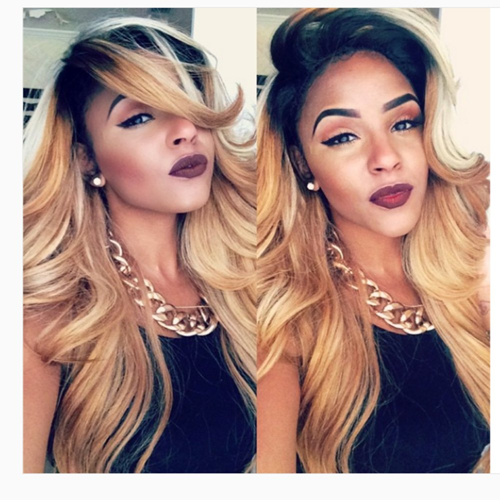 Human Hair Ombre Blonde Full Lace Wigs Dark Root Loose Wave Bleached Knot Pre Plucked Hairline 180% Density Lace Front Wig (20'', lace frontal wig) by Dreambeauty (Image #3)