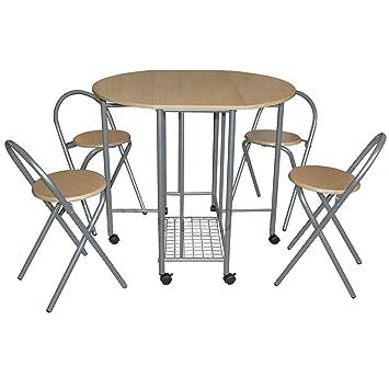 Klappbarer Küchentisch Esstisch 4 Stühle Set Klein Ausziehbar Ausziehbar  Drop Leaf Set Beige