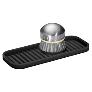 "InterDesign Lineo Silicone Kitchen Sink Tray for Sponges, Scrubbers, Soap, Stovetop Spoon Holder 9"" x 3.5"" x .5"" Black"