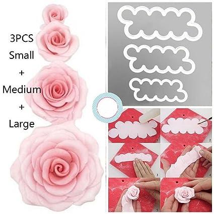 syoo DIY Pasteles Rosas Moldes, 3 tamaños Cake Pétalo Cutter Flores - Juego de moldes
