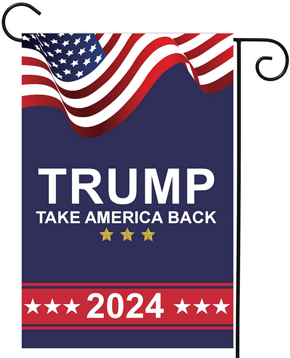 Homissor Donald Trump 2024 Garden Flags- TAKE American Back - Double Sided Yard Flag Banner Lawn Outdoor Decoration Election Day 12.5x18 Inch