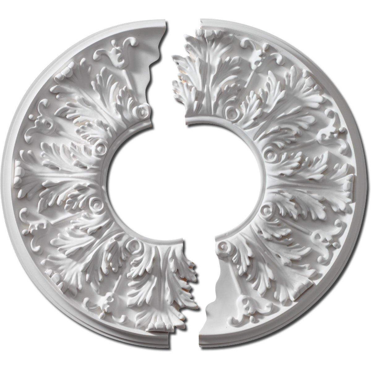Fypon CM16FL2 16'' OD x 5 5/8'' ID x 1 1/8'' P Florentine Ceiling Medallion, 2 Piece
