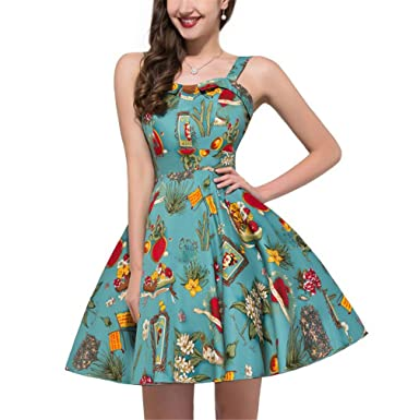 Retro Vintage Party Womens Clothing Vestidos Summer Floral Casual Dress ladies dresses 6 S