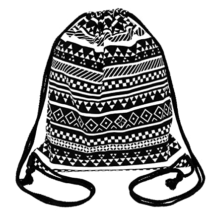 0d5e86b974 Peicees Canvas Drawstring Backpack with Zipper Pocket Gymsack Drawstring  Bag Sport Sackpack Travel School Backpack for