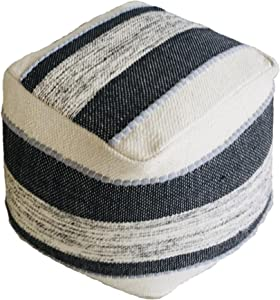 OUTBACK BLUE Square Unstuffed Pouf Cover Ottoman | Soft Woven Boho Decorative Handmade Floor Pouf 100% Cotton | Great Footrest Seat for Home & Patio,16 Inches Square Black/Ivory