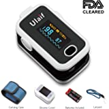 Fingertip Pulse Oximeter, OLED Portable Oximetry Blood Oxygen Saturation Monitor SpO2 Finger Pulse Oximeter Readings with Carrying Case Lanyard Silicon Case and Battery