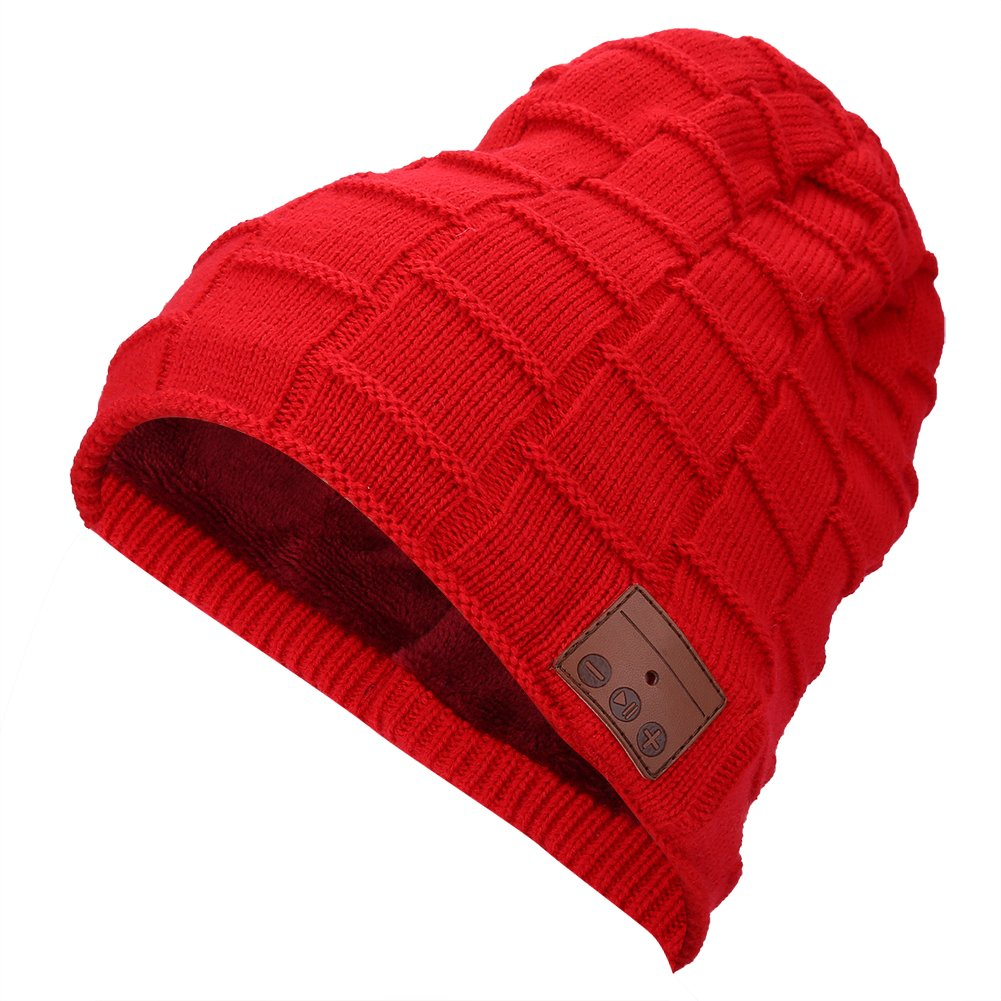 Alomejor Wireless Bluetooth Headphone Hat, Outdoor 4.1 Bluetooth Headset Music Sport Running Warm Cap(Red)