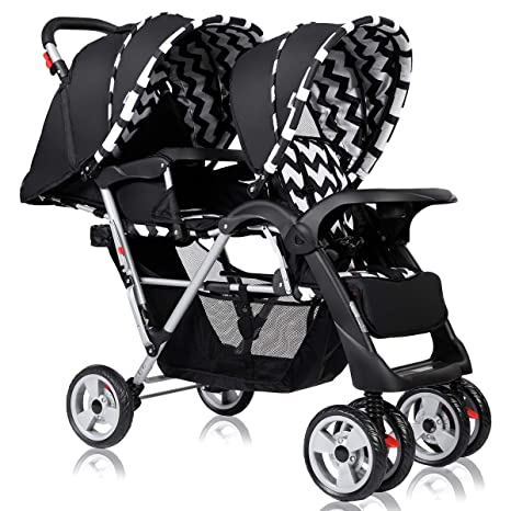 Costzon Double Stroller Twin Tandem Baby Stroller with Adjustable Backrest 5 Points Safety Belts Foldable Design for Easy Transportation Footrest Red