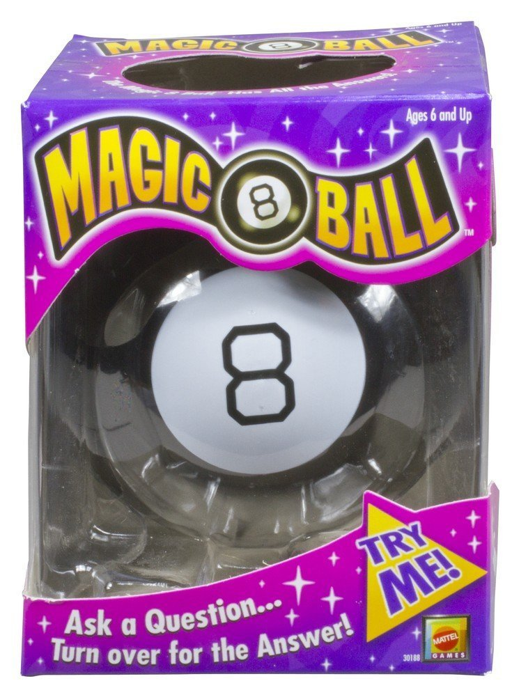 Magic 8 Ball game set in a color violet box.