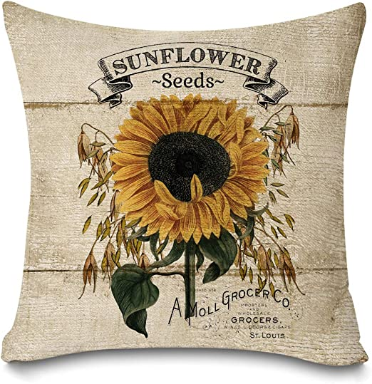 Amazon Com Faromily Rustic Farmhouse Sunflower Throw Pillow Covers Vintage Wood Sunflower Seeds Cotton Linen Farmhouse Decorative Throw Pillow Cases Cushion Cover 18 X 18 Sunflower Home Kitchen