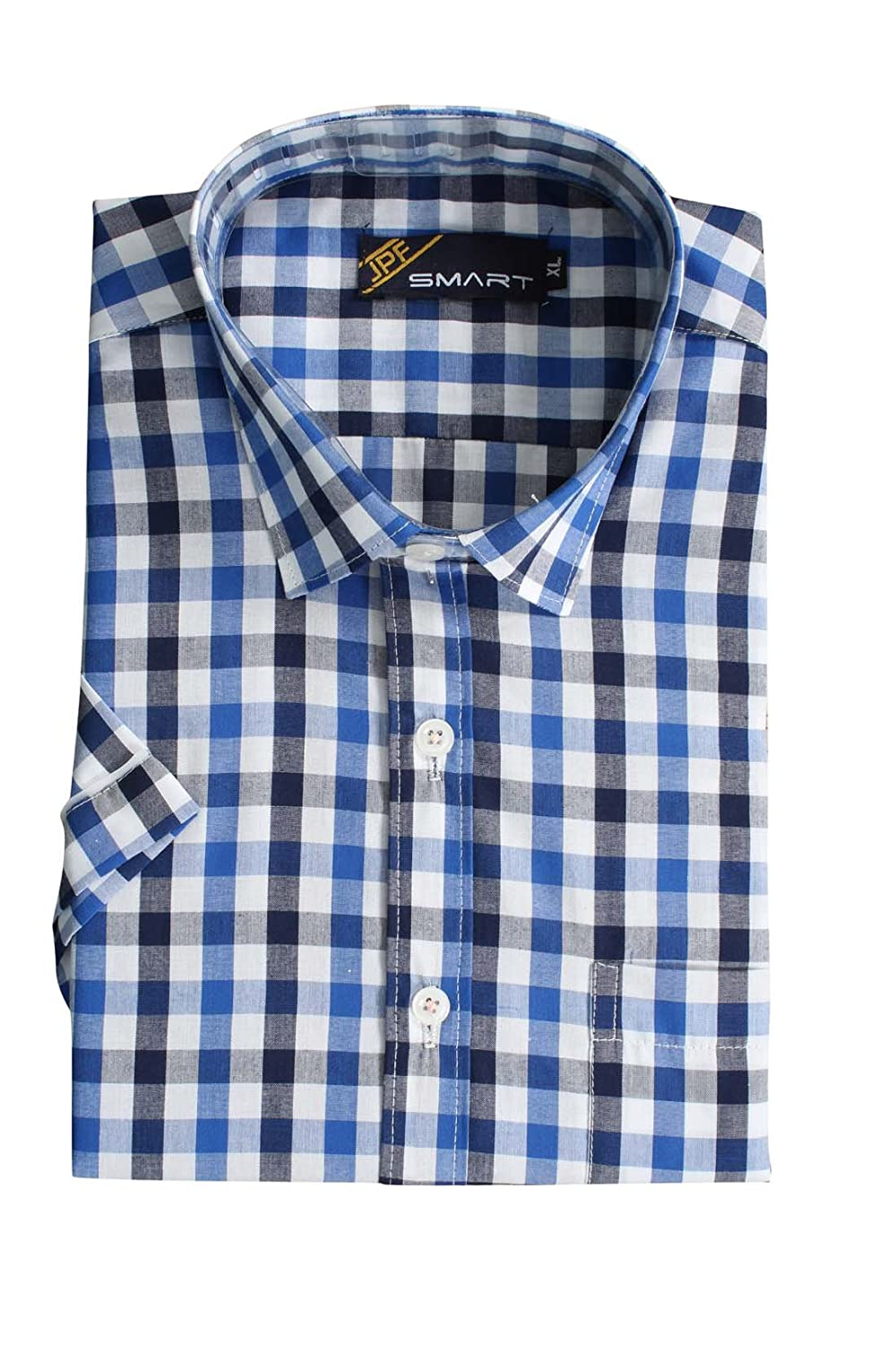 626c09b73 JPF Smart Mens Cotton Regular Fit Formal Half Sleeve Shirt with Pocket  Colorful Summer Casual Clothing (Blue with White): Amazon.in: Clothing &  Accessories