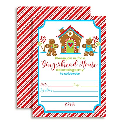 Christmas Birthday Party Invitations.Gingerbread House Decorating Christmas Birthday Party Invitations 20 5 X7 Fill In Cards With Twenty White Envelopes By Amandacreation