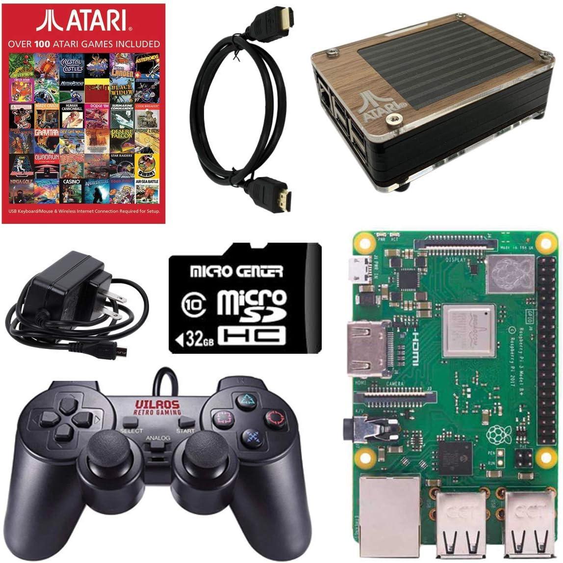 Atari Raspberry Pi 3 Model B+ Retro Arcade Gaming Kit with Pi 3B+, USB Gamepads, 100+ Licensed Atari Games Micro SD Card, Power Supply, Atari Pi Case, HDMI Cable and Starter Guide