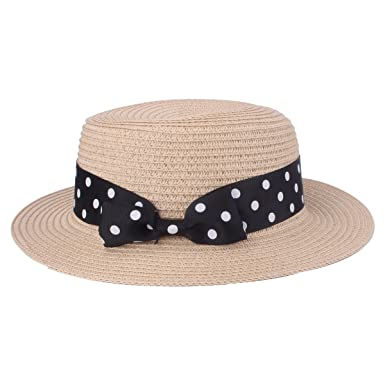 c5351ff720a Lady Boater Hat Women s Straw Hat Bowknot Round Flat Top Brim Straw Hat  Summer Beach Sun