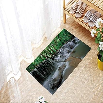 Waterfall With Colorful Light Non-Slip Outdoor Indoor Front Door Mat bathroom