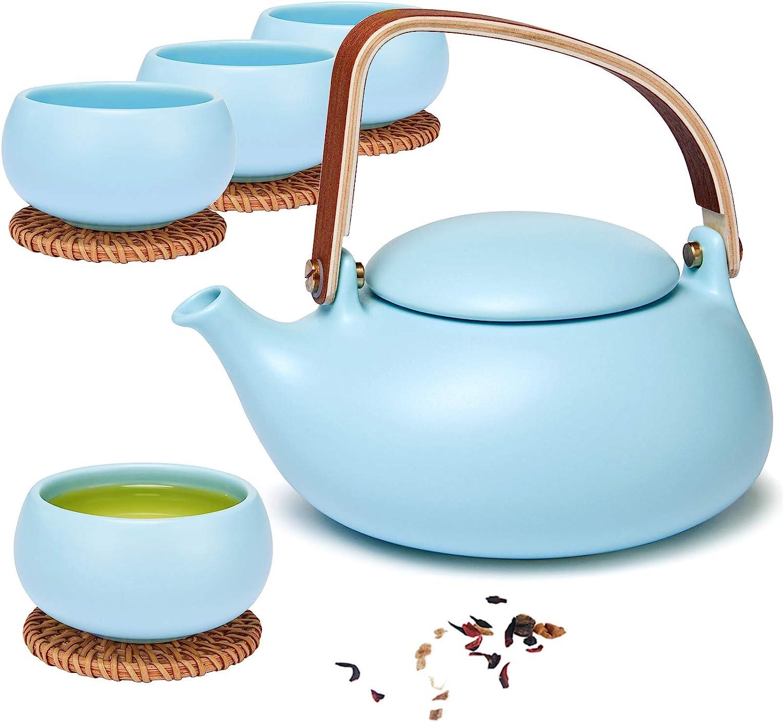 ZENS Ceramic Teapot Set, Matte Blue Japanese Tea Set with Infuser for Loose Tea, 27 Ounce Modern Porcelain Tea Pot with 4 Teacups & Rattan Coasters for Women Gift