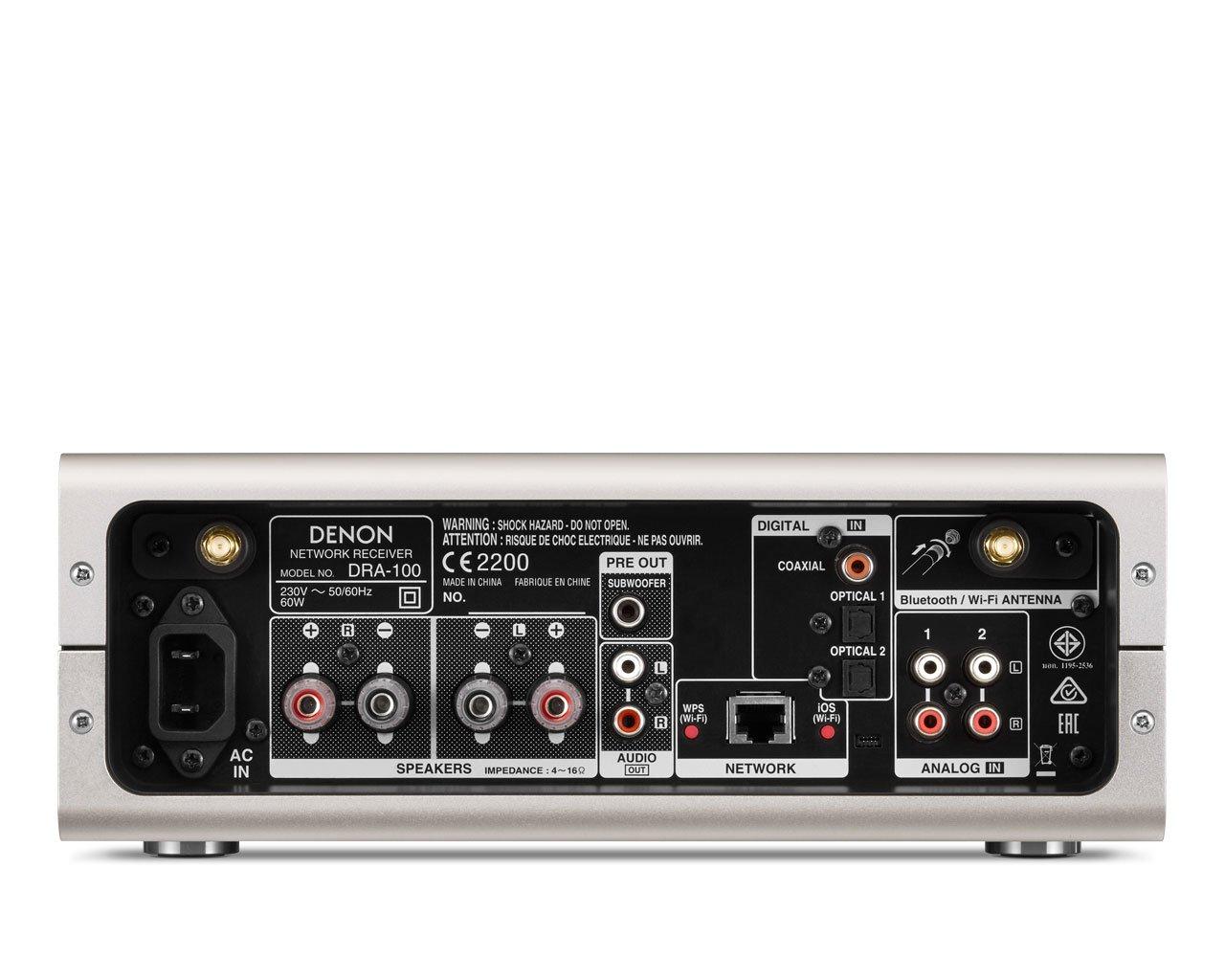 Denon DRA-100 - Receptor en red, con WiFi y Bluetooth, potencia 70 W x 2, color plata: Amazon.es: Electrónica