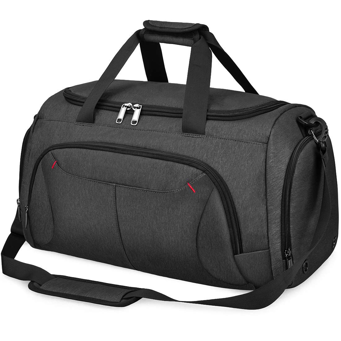 Gym Duffle Bag Waterproof Large Sports Bags Travel Duffel Bags with Shoes Compartment Weekender Overnight Bag Men Women 40L Black by NUBILY