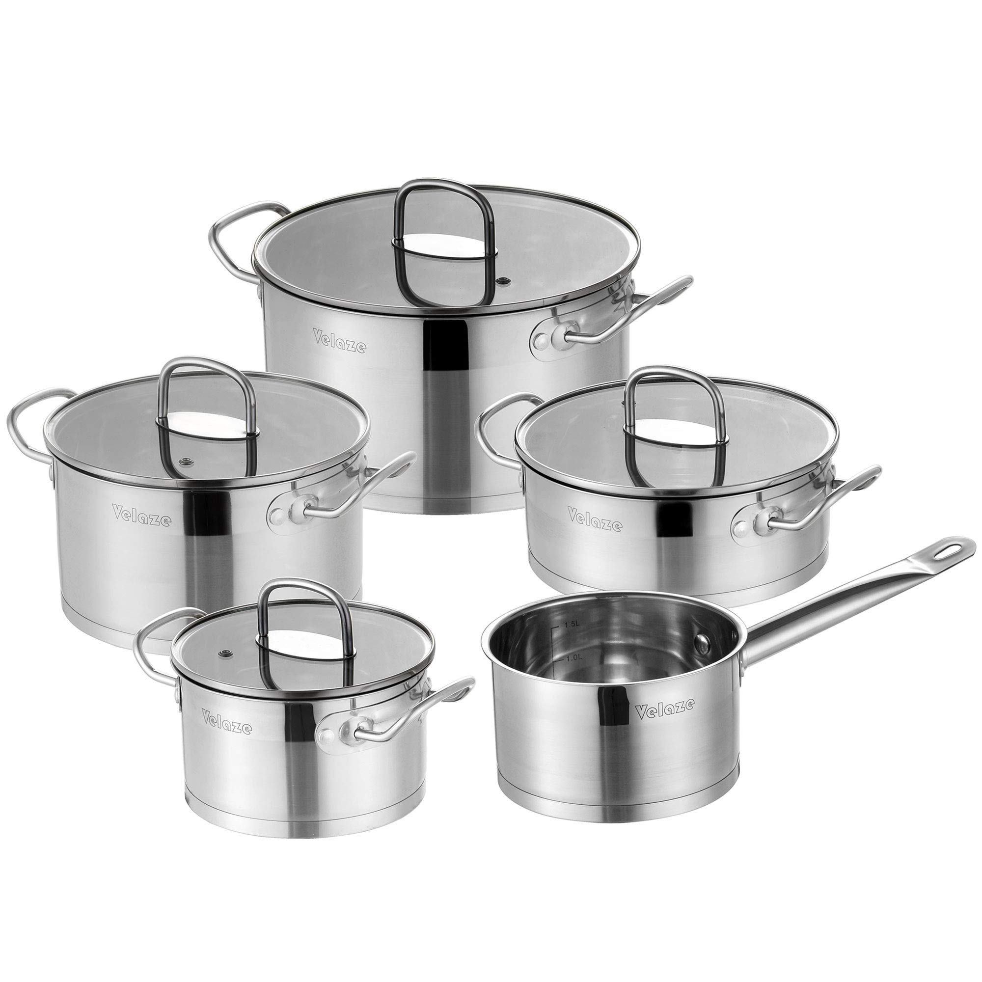 Velaze Stainless Steel Cookware Set, 9-Piece Pots and Pans Set, Cooking Pans with Glass Lid, Silver