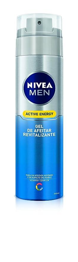 NIVEA MEN Active Energy - Gel de Afeitar Revitalizante , gel facial para un afeitado apurado y revitalizado, gel de afeitado para un aspecto saludable ...