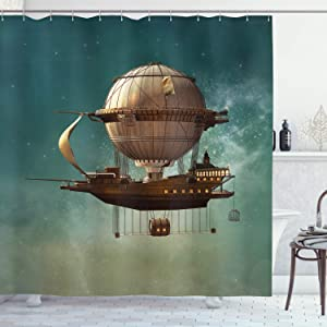 "Ambesonne Fantasy Shower Curtain, Surreal Sky Scenery with Steampunk Airship Fairy Sci Fi Stardust Space Image, Cloth Fabric Bathroom Decor Set with Hooks, 75"" Long, Teal Brown"
