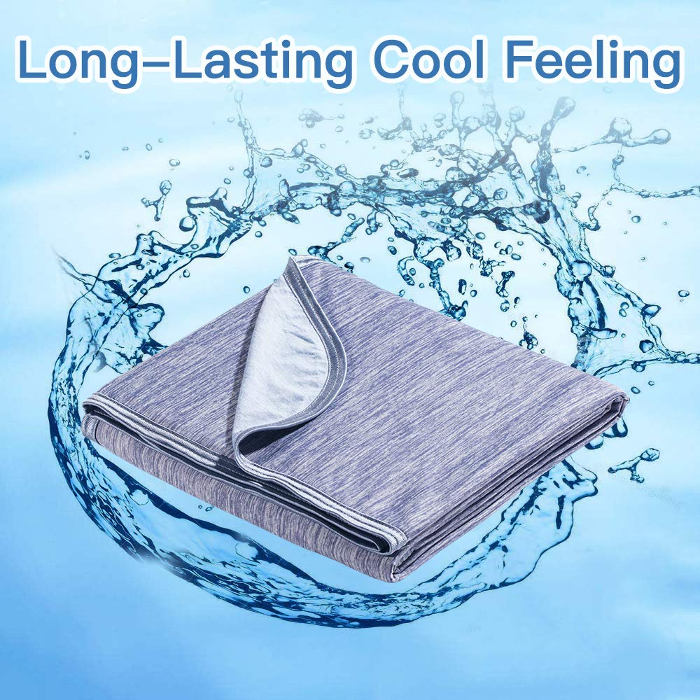 Marchpower Cooling Blanket [Latest Cool-to-Touch Technology], Breathable Cool Blanket for Sleeping Night Sweats, Lightweight Summer Blanket for Bed, Q-MAX>0.4, [Blue, Large, 79'' x 59'']