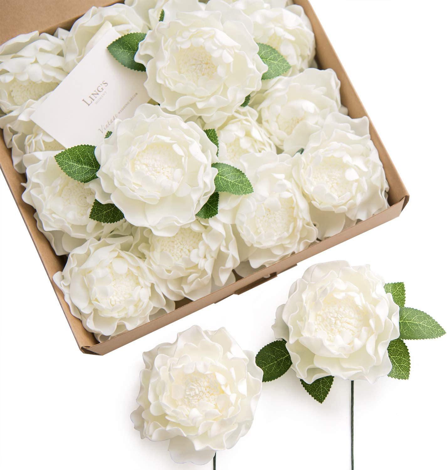 """Ling's moment 16pcs 4"""" Ivory Blooming Peonies Real Touch Artificial Peonies Flower Real Looking Fake Peony w/Stem DIY Wedding Bouquet Centerpieces Reception Arrangements Party Baby Shower Home Décor"""