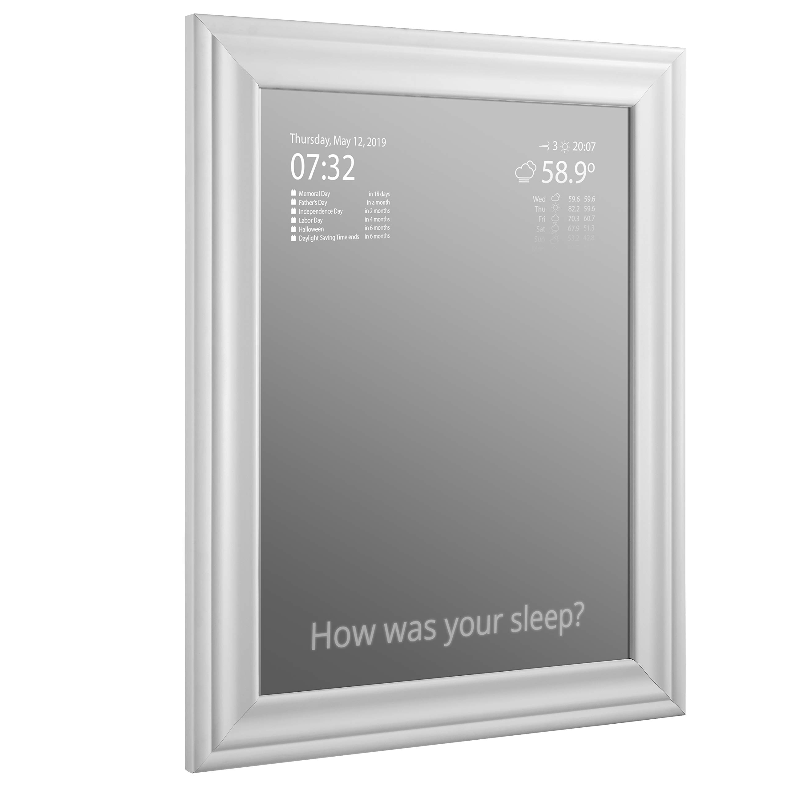 Vilros Magic Glass Mirror and Frame - 2 Way Mirror for Smart Mirror Project (Does not Include LCD)
