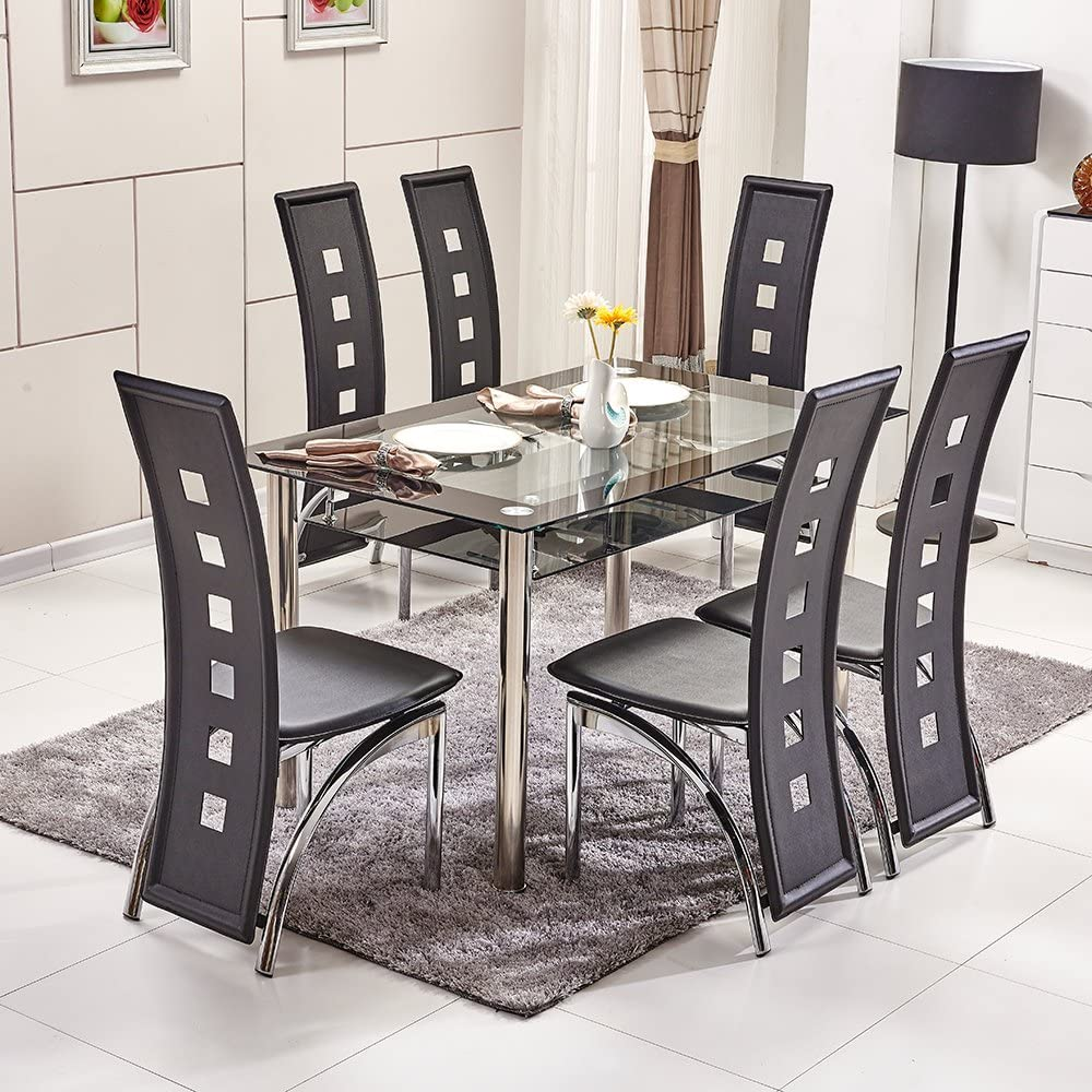 Ospi 2 Tier Tempered Glass Dining Table Stainless Steel Legs Piano High Back Chairs Set Black Colour Table With 6 Chairs Amazon De Kuche Haushalt