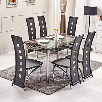 OSPI 2 Tier Tempered Glass Dining Table   Piano High Back Chairs sets with  Stainless SteelOSPI 2 Tier Tempered Glass Dining Table   Piano High Back Chairs  . Piano Dining Room Table. Home Design Ideas
