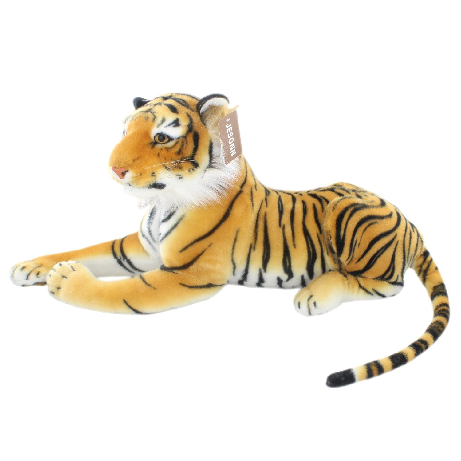 JESONN Realistic Stuffed Animals Tiger Toys Plush (White, 13.5 Inch)