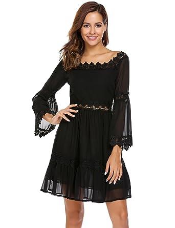 ee4276616936 Etuoji Women Dress Sexy Off Shoulder Long Sleeve Lace Trimmed Chiffon Midi  Dresses(Black) at Amazon Women s Clothing store