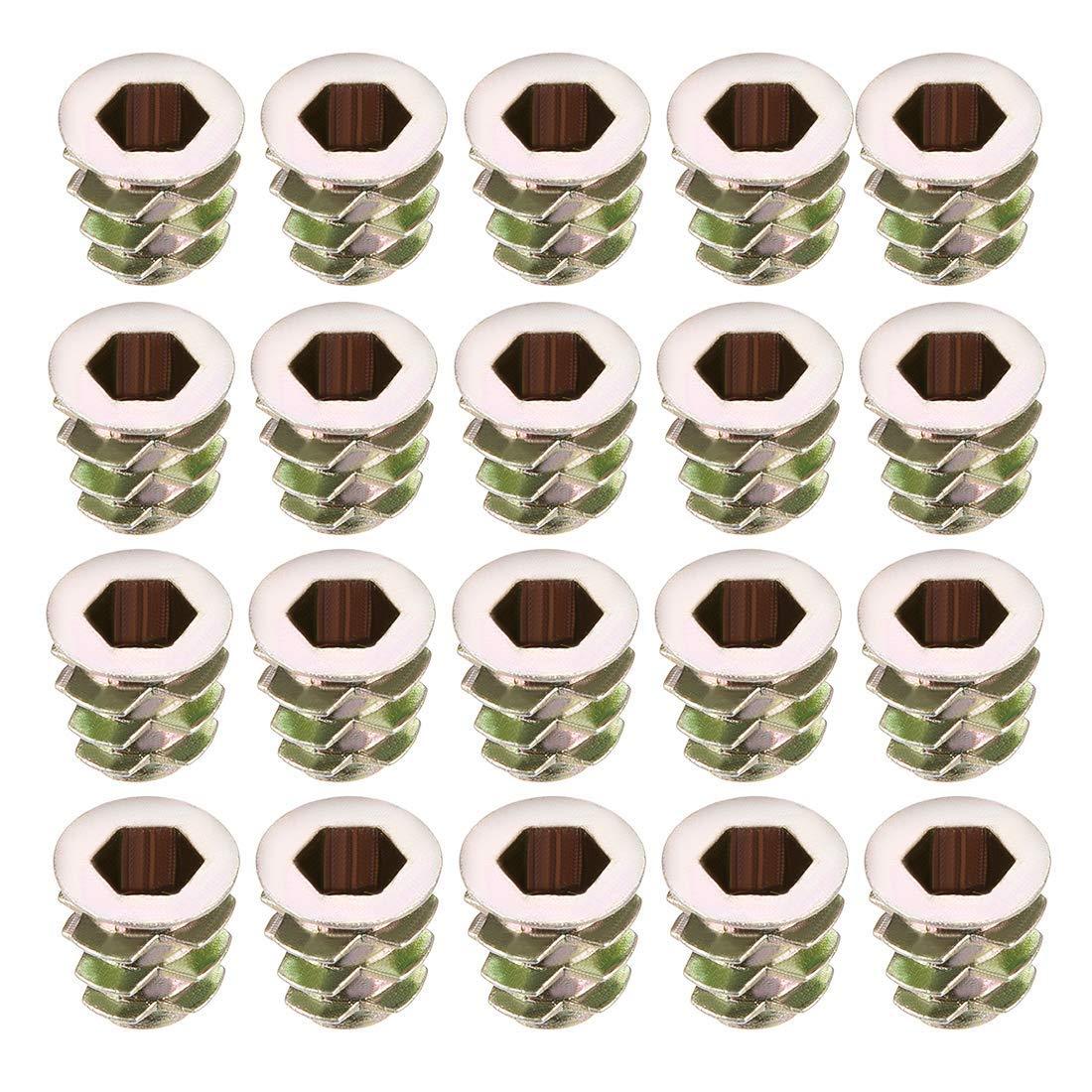 20pcs M5x10mm Threaded Insert Nuts Zinc Alloy Hexagonal M5 Internal Threads 10mm Length