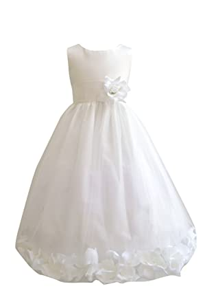 4c9c9630a37 Amazon.com  HMF White Flower Girl Dress with Loose White Petal  Clothing