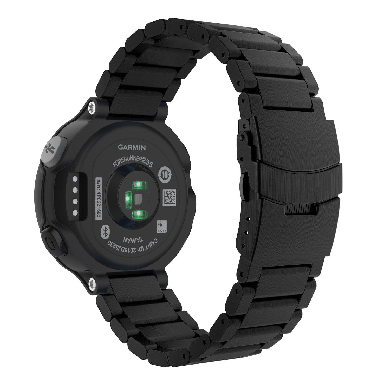 MoKo Garmin Forerunner 235 Watch Band, Universal Stainless Steel Watch Band Strap Bracelet for Garmin Forerunner 235/220/230/620/630/735XT Smart Watch, BLACK