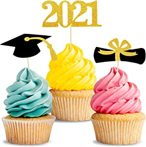 72 Pcs Graduation Cupcake Toppers - 2021 Mini Glitter Cake Toppers Food Picks Graduation Decoration, 2021 Diploma Grad Cap Decor for Party Supplies