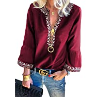 FARYSAYS Women's Casual Notch Neck Long Sleeve Pleated Button Down Loose Tunic Top Blouse T-Shirt