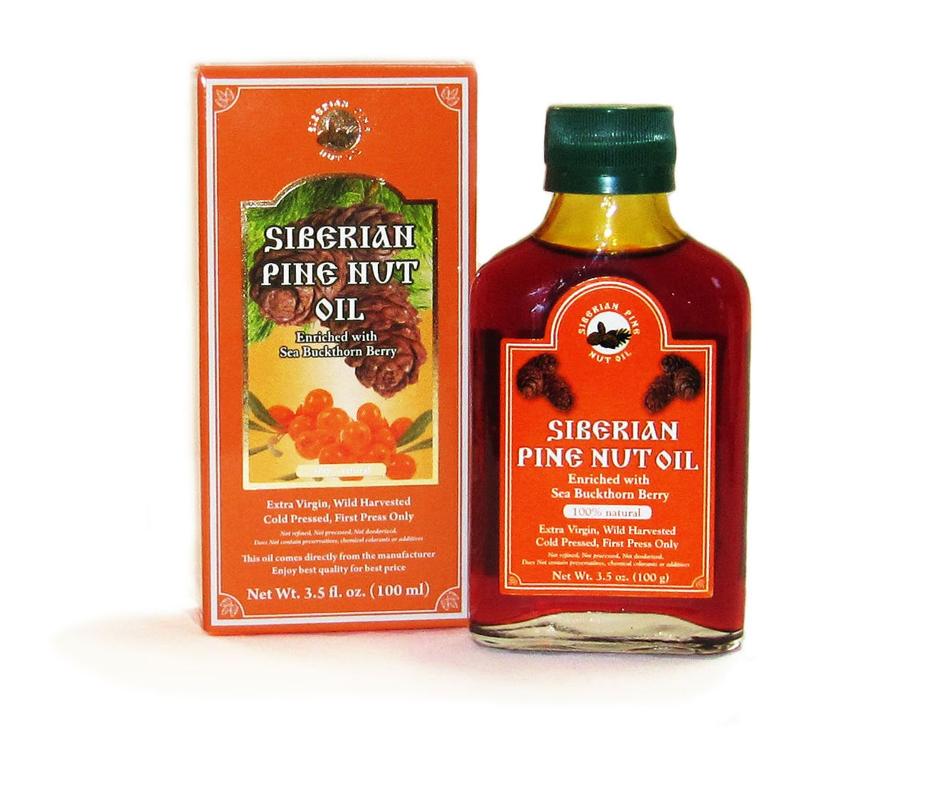 Pine Nut Oil Enriched with Sea Buckthorn 3.5 Fl. Oz. (100 Ml) Therapeutic Grade, Extra Virgin, Cold-pressed. 100% Natural and Authentic. Pressed From Wild Harvested, Organic, Raw Pine Nuts. by Siberian Pine Nut Oil