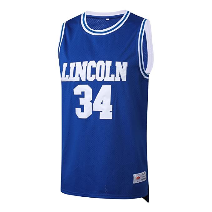 sale retailer 2e548 76f32 MM MASMIG Jesus Shuttlesworth 34 Lincoln Basketball Jerseys Ray Allen  Jersey Movie S-XXXL Blue