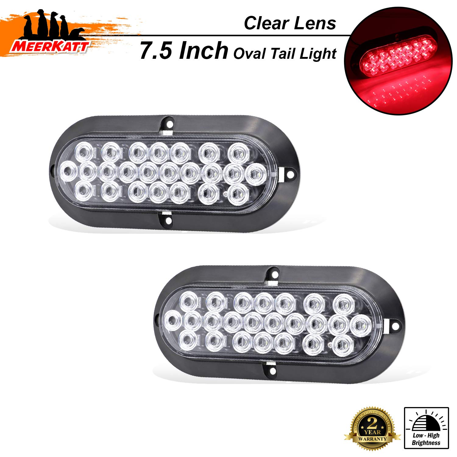 6 Inch Oval Clear Lens Amber LED Indicator Trailer Tail Light Turn Signal Clearance Lamp Good Design Energy Saving Jeep Truck Pickup Lorry Camper Bus RV Tow 12v DC Universal DK12 Pack of 2 Meerkatt