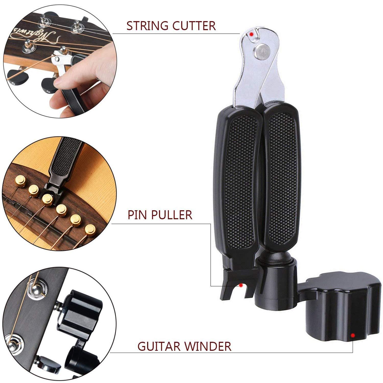 extractor de pines bobinador de cuerdas Anvin todo en 1 kit de herramientas de accesorios de cambio de guitarra incluyendo p/úas de guitarra cuerdas de ac/ústica cejilla clavijas de puente