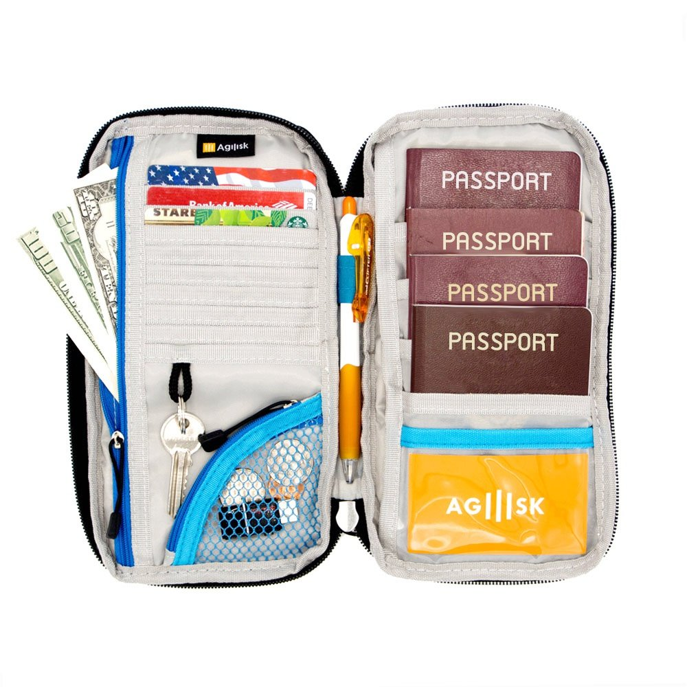 Travel Wallet & Passports Holder with RFID Blocking by AGILISK Offer Family Organizer for Credit & Business Cards, Document, Boarding Pass, and Accessories for Neck/Shoulder. Get Yours Now! (Blue)