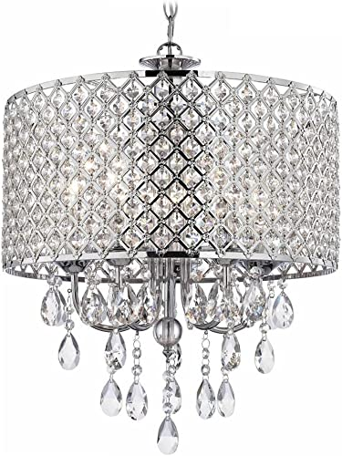 DINGGU Chrome Finish 4-Light Round Chandelier