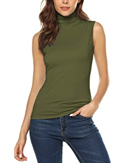 9281568a3d URRU Women's Sleeveless Slim Fit Turtleneck Mock Soft T-Shirt Tank Tops  Basic Stretchy Pullover