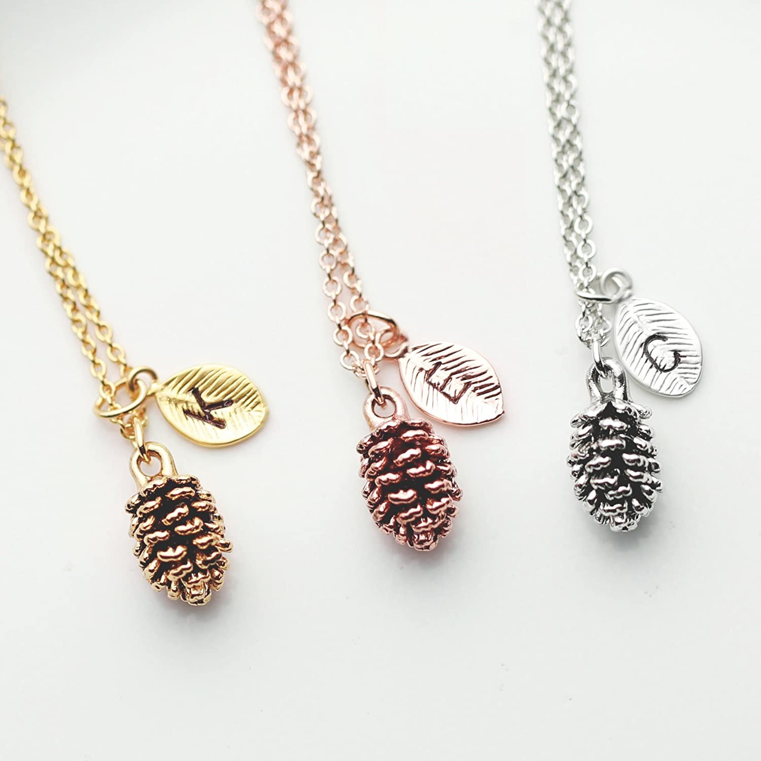 SAME DAY SHIPPING before 3 PM EST Pinecone Necklace - nature necklace nature jewelry best friend gift for her Gold leaf Necklace Pine Cone Necklace Rosegold Necklace Gold Silver - 3PCN-L